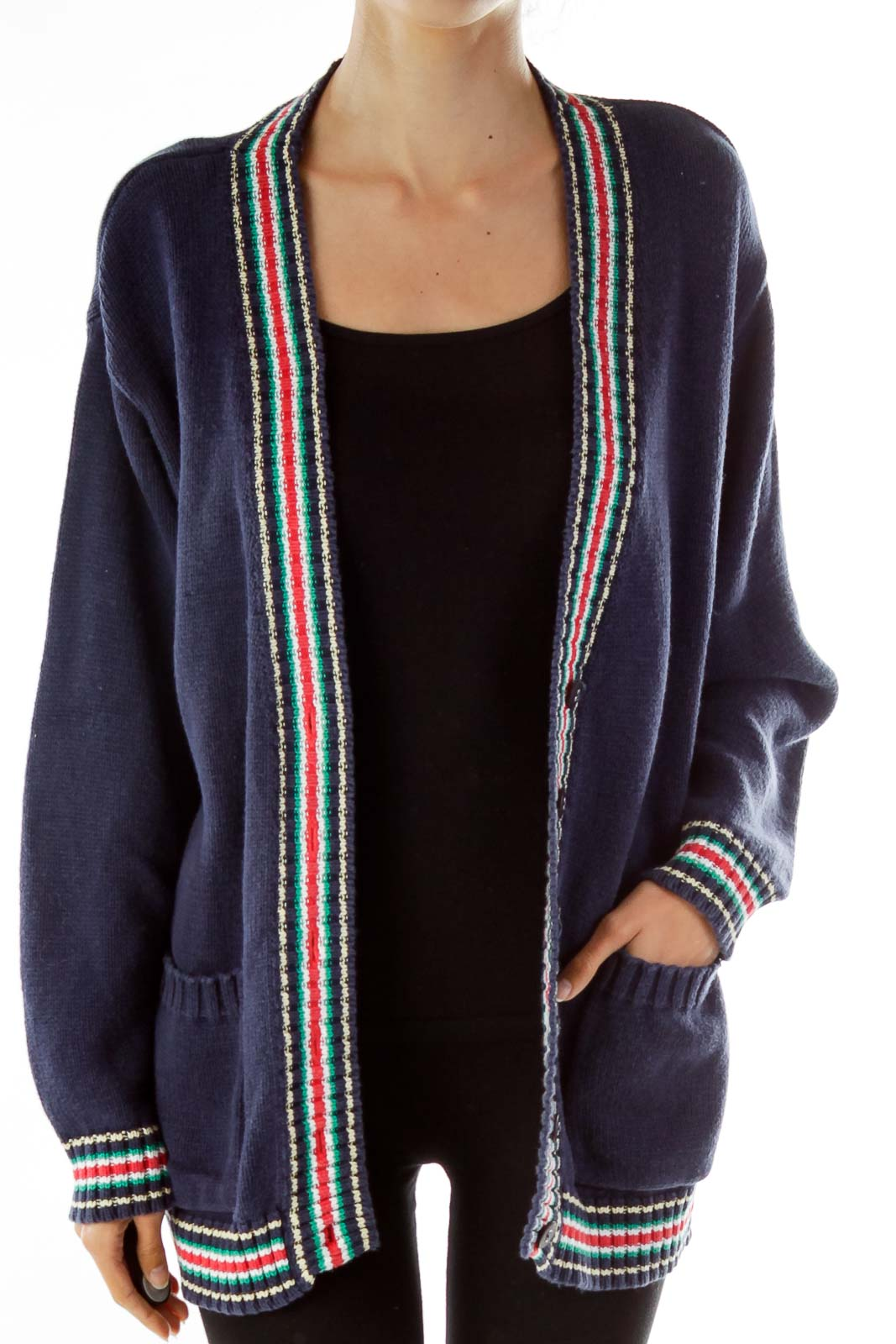 Navy Golfer Cardigan Sweater