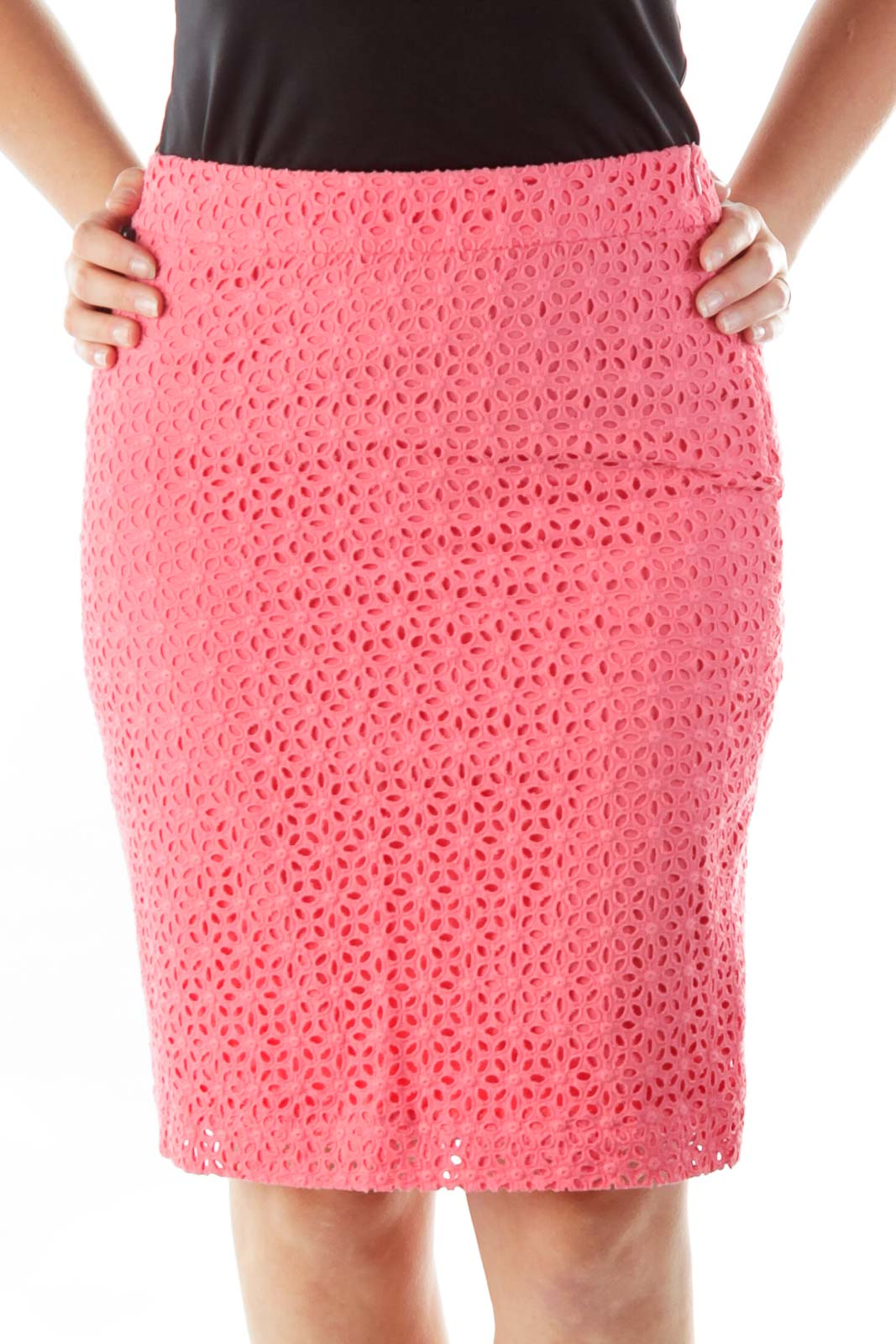 Pink Crocheted Pencil Skirt