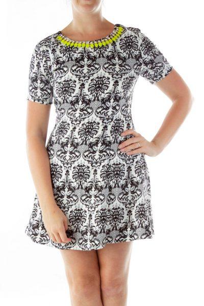 Black White Printed Jeweled Work Dress