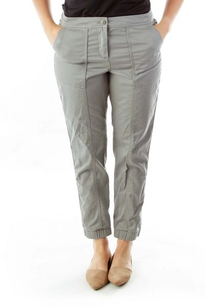 Gray Tapered Cargo Pants