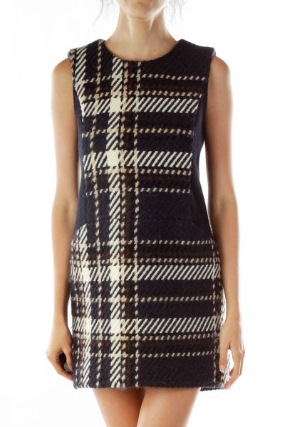 Black/Cream Patterned Sleeveless Dress