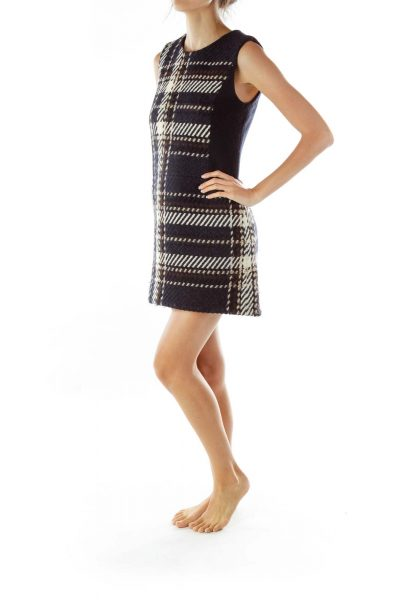 Black/Cream Patterned Sleeveless Dress