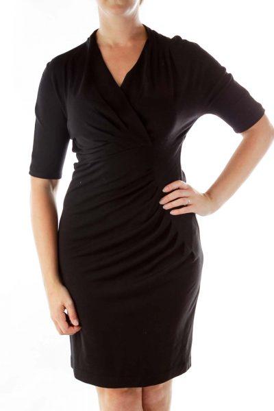 Black V-neck Day Dress