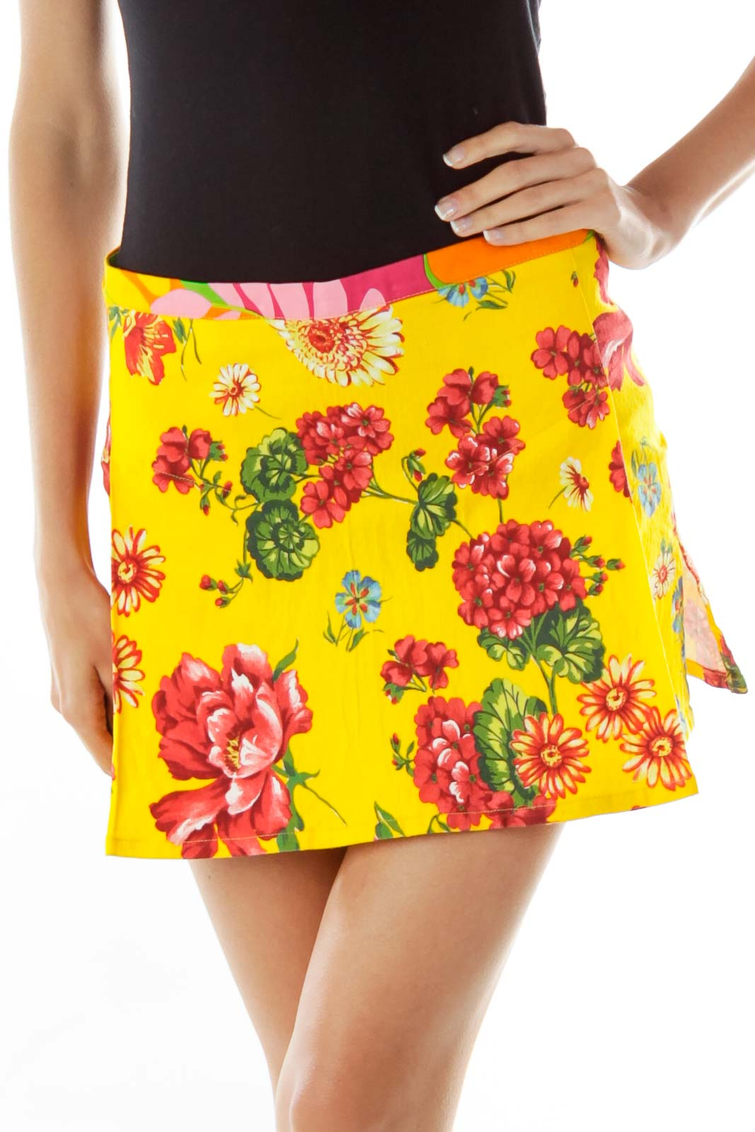 Yellow Floral Pleated Miniskirt