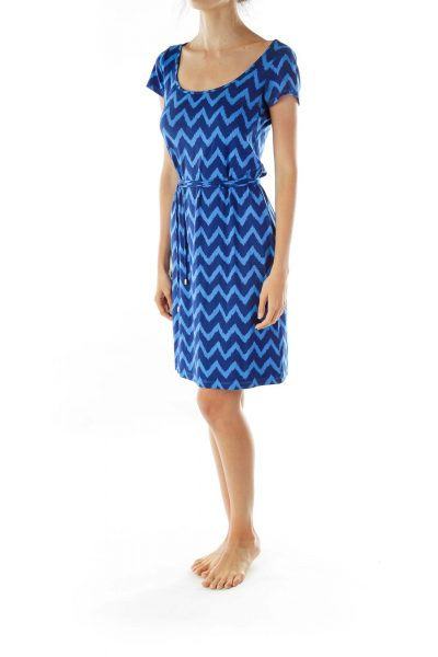 Blue Printed Day Dress