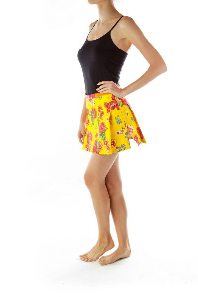 Yellow Floral Pleated Miniskirt