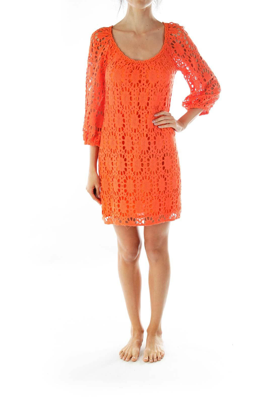 Orange Crocheted Round Neck Day Dress