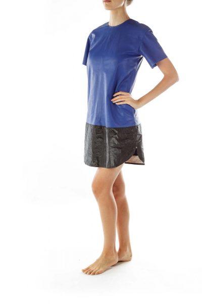 Royal Blue Lambskin Color Block Dress