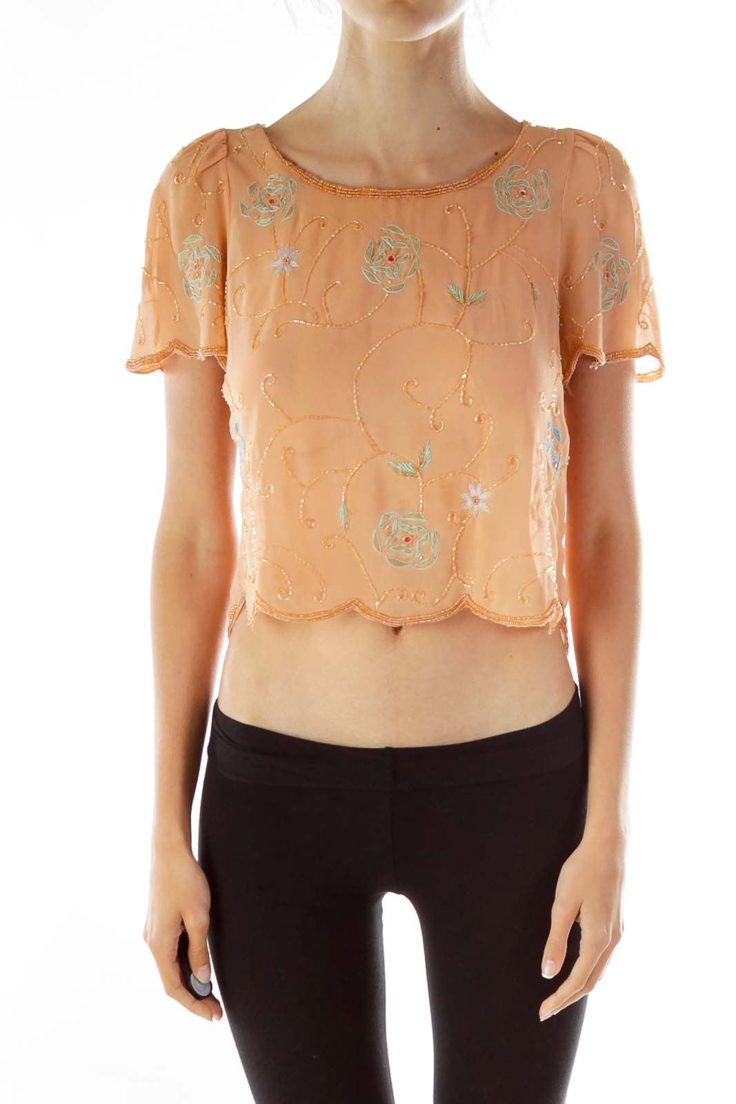 Orange Flower Beaded See-through Blouse