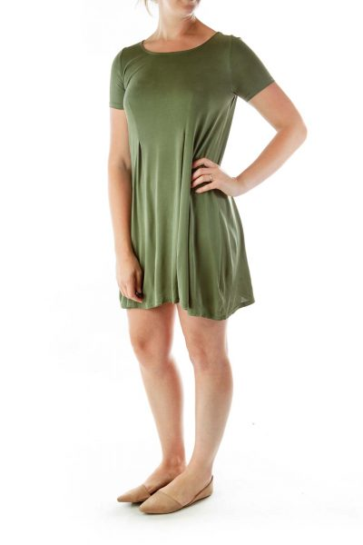 Green Pleated Day Dress