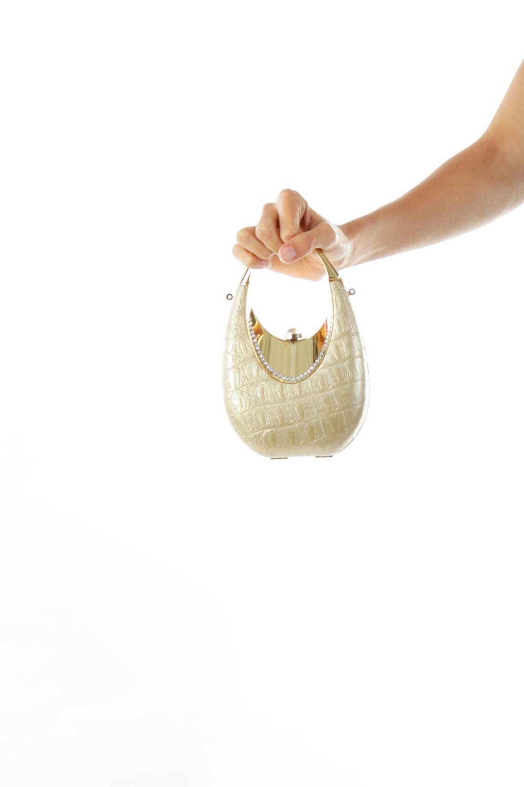 Gold Studded Clutch with Handle
