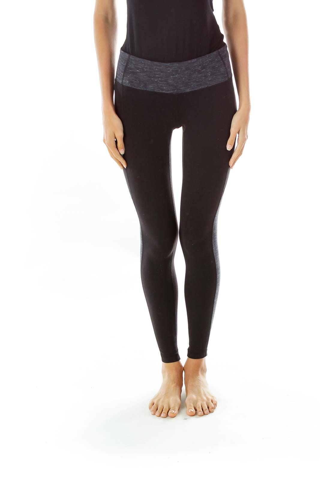 Black Gray Cropped Leggings