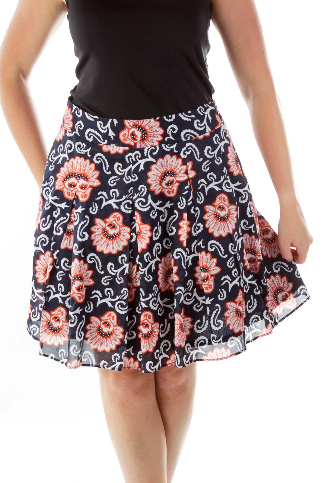 Navy Orange Floral Print Flared Skirt