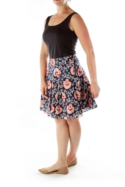 Navy Orange Floral Print Flared Skirt
