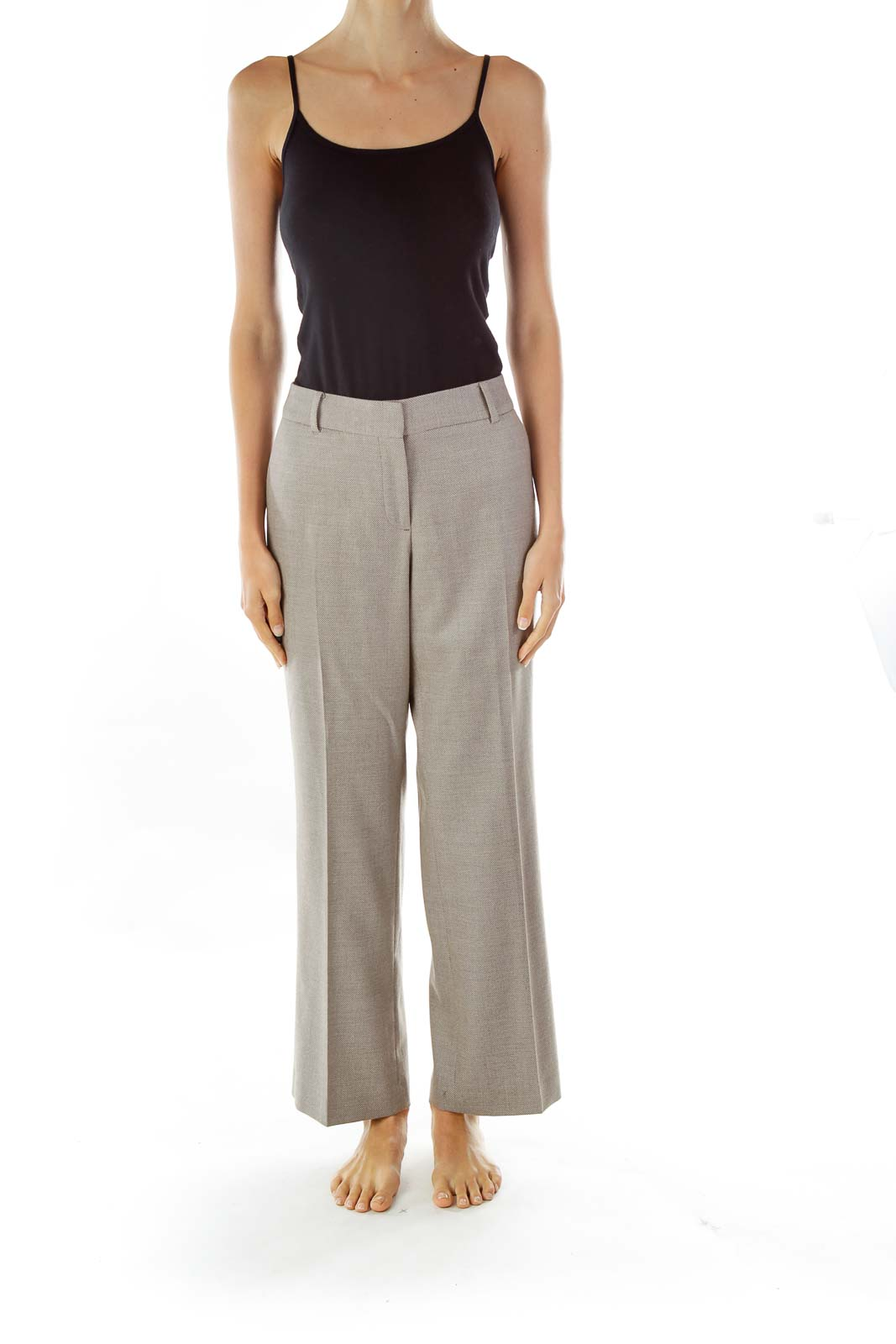 Brown Woven Straight-Leg Pants