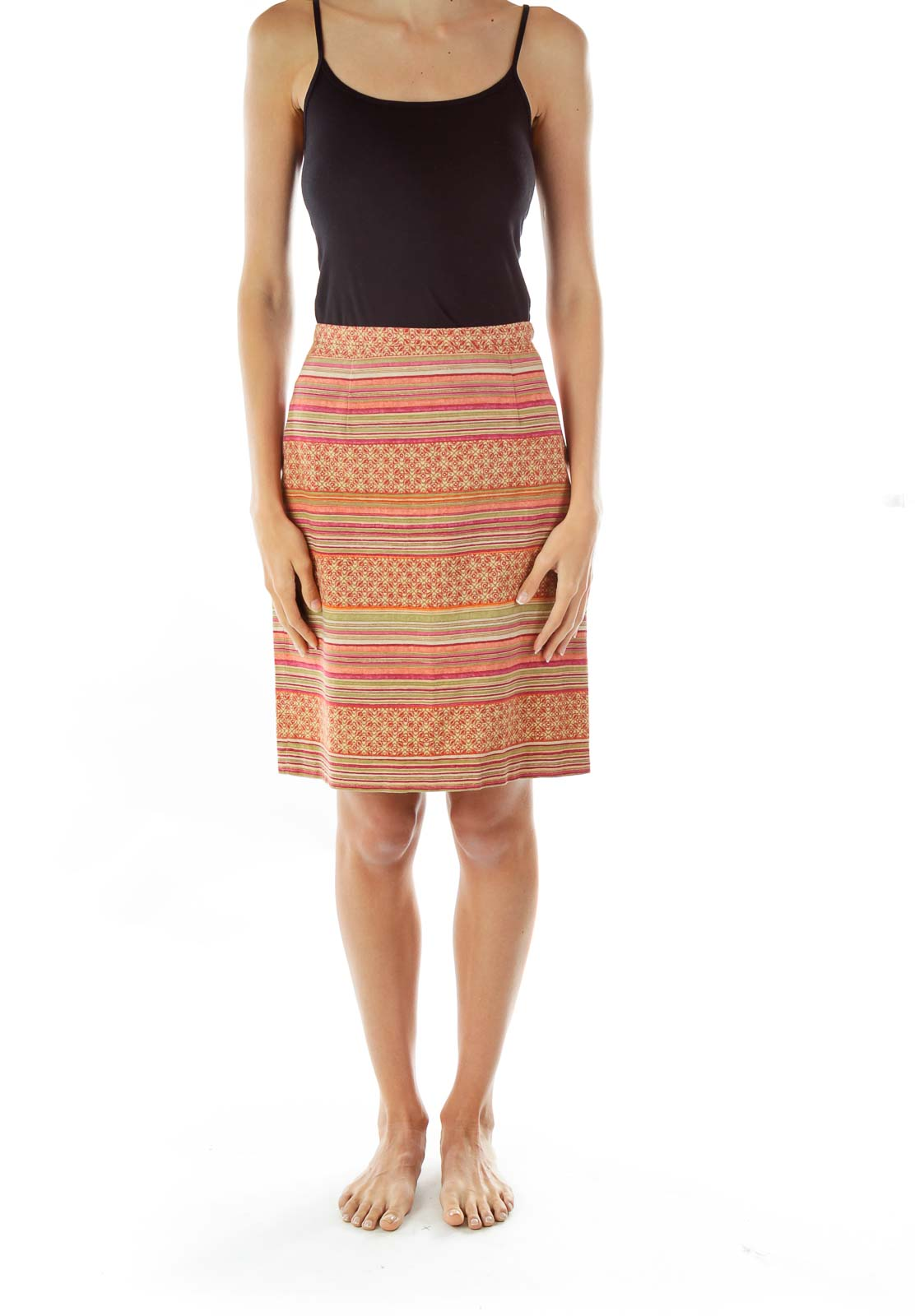 Red Woven Pencil Skirt