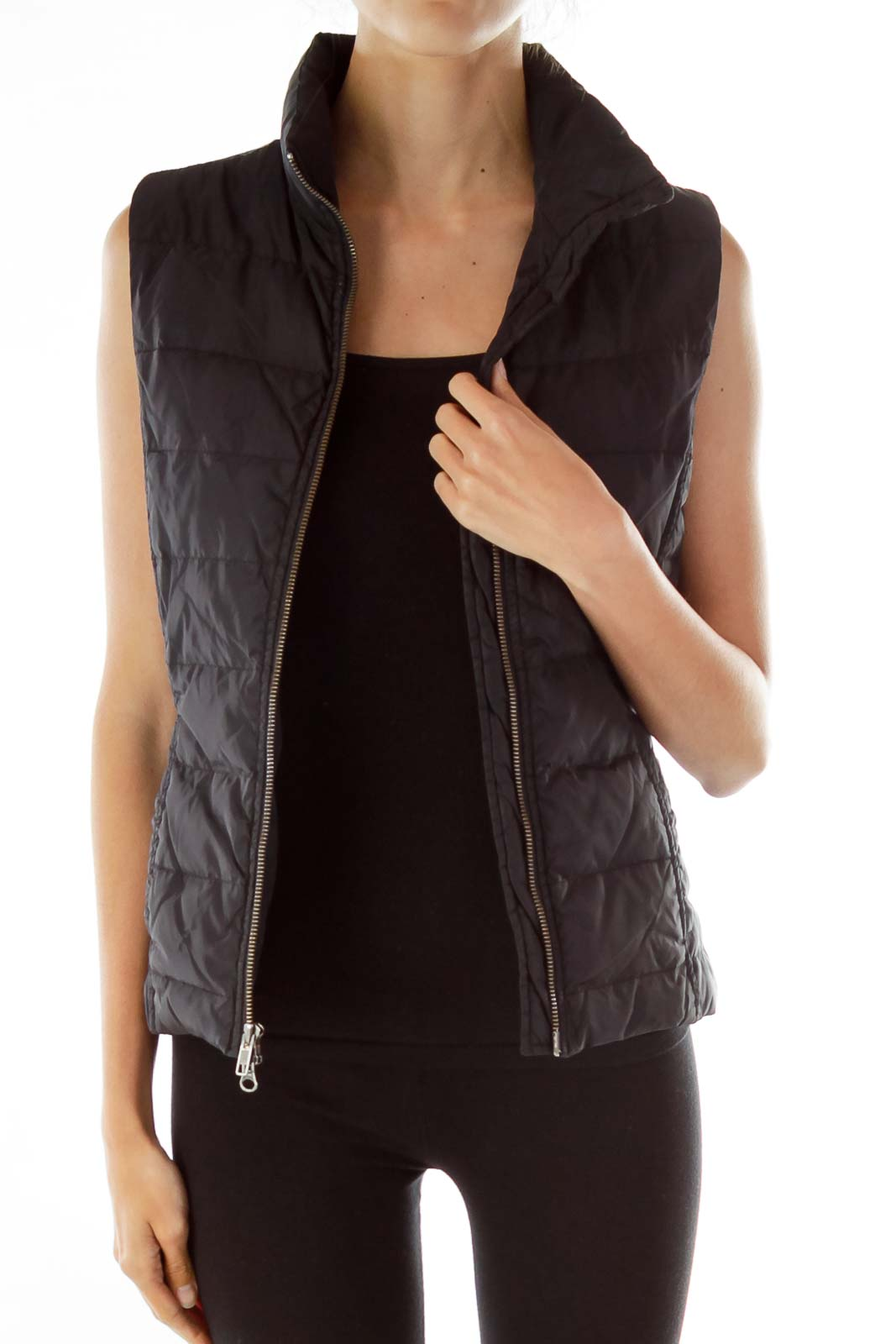 Black Padded Sleeveless Coat