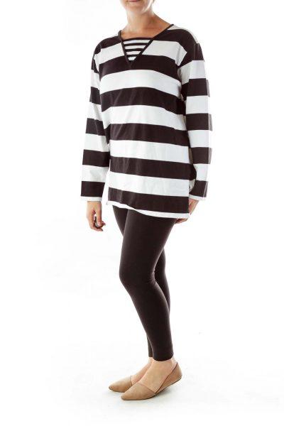 Black White Striped Sweatshirt
