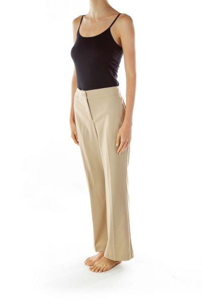 Beige Straight Leg Slacks