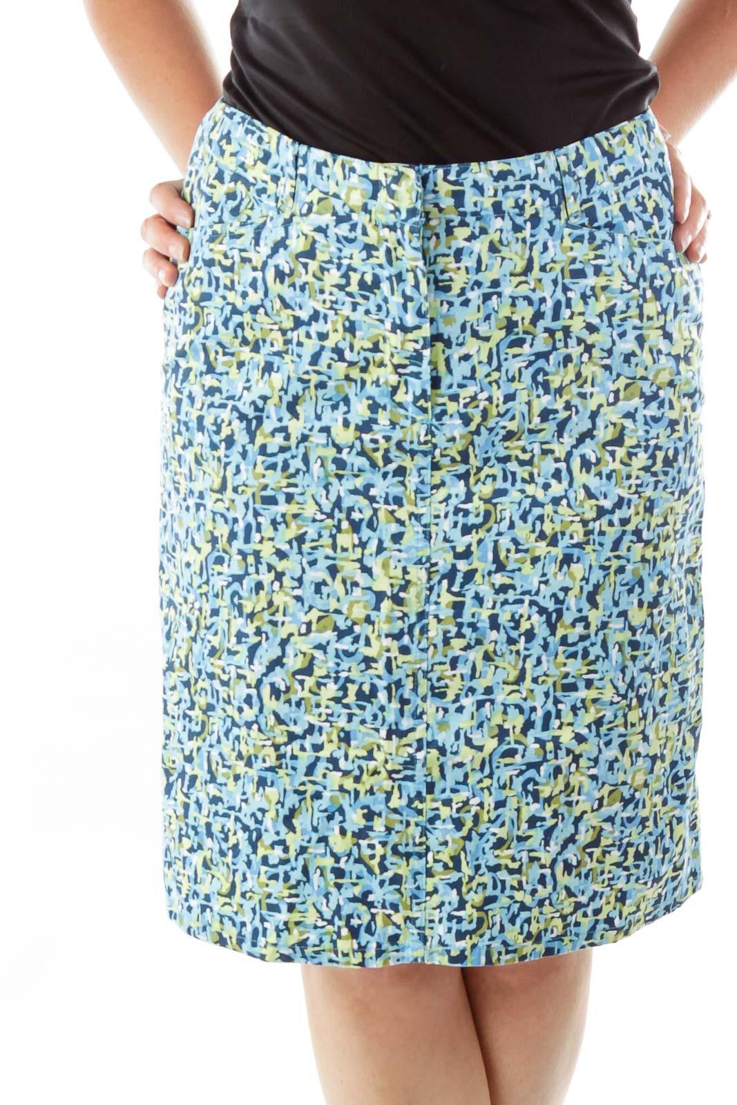 Petite Blue Green Printed A-line Skirt