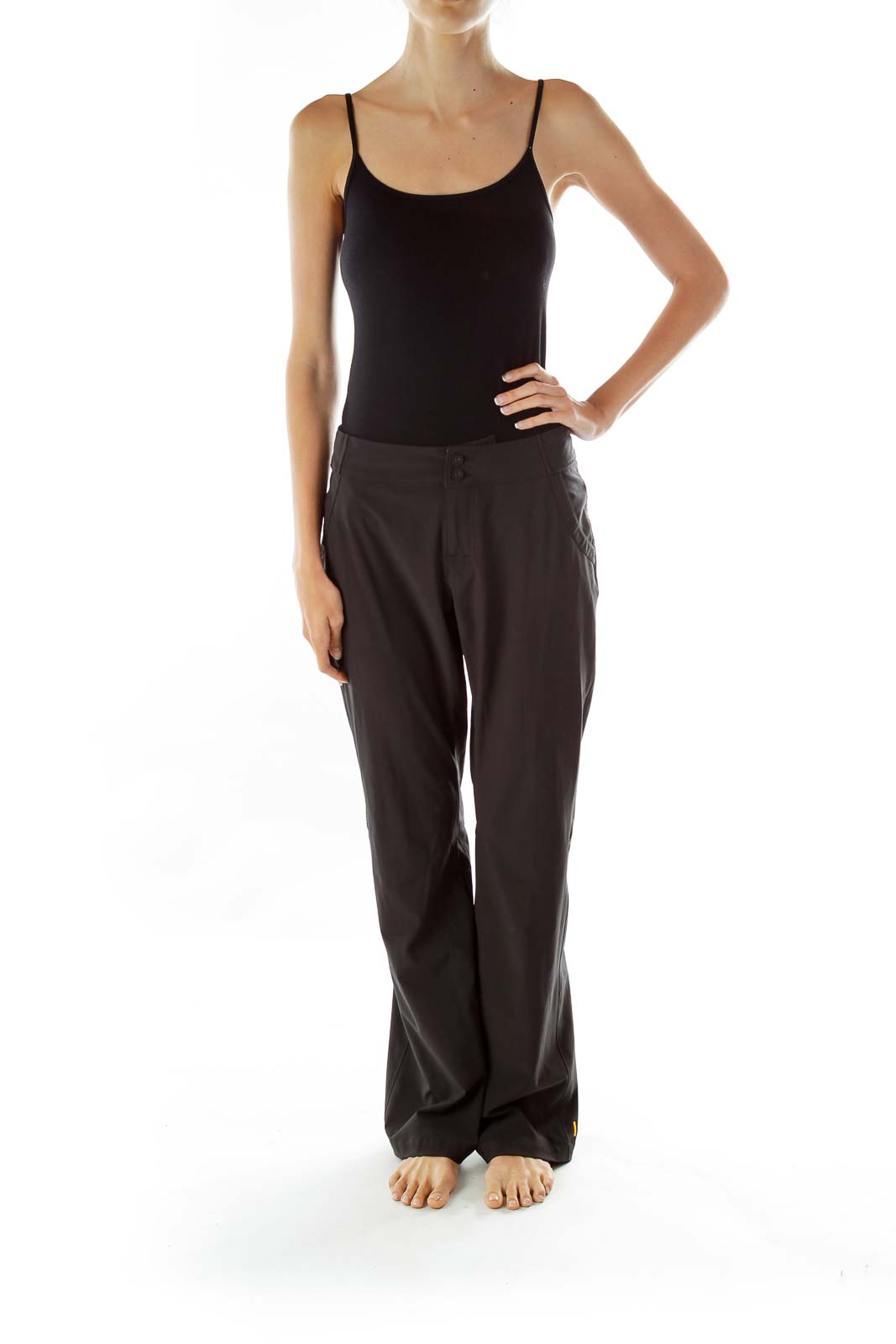 Black Buttoned Straight-Leg Sports Pants