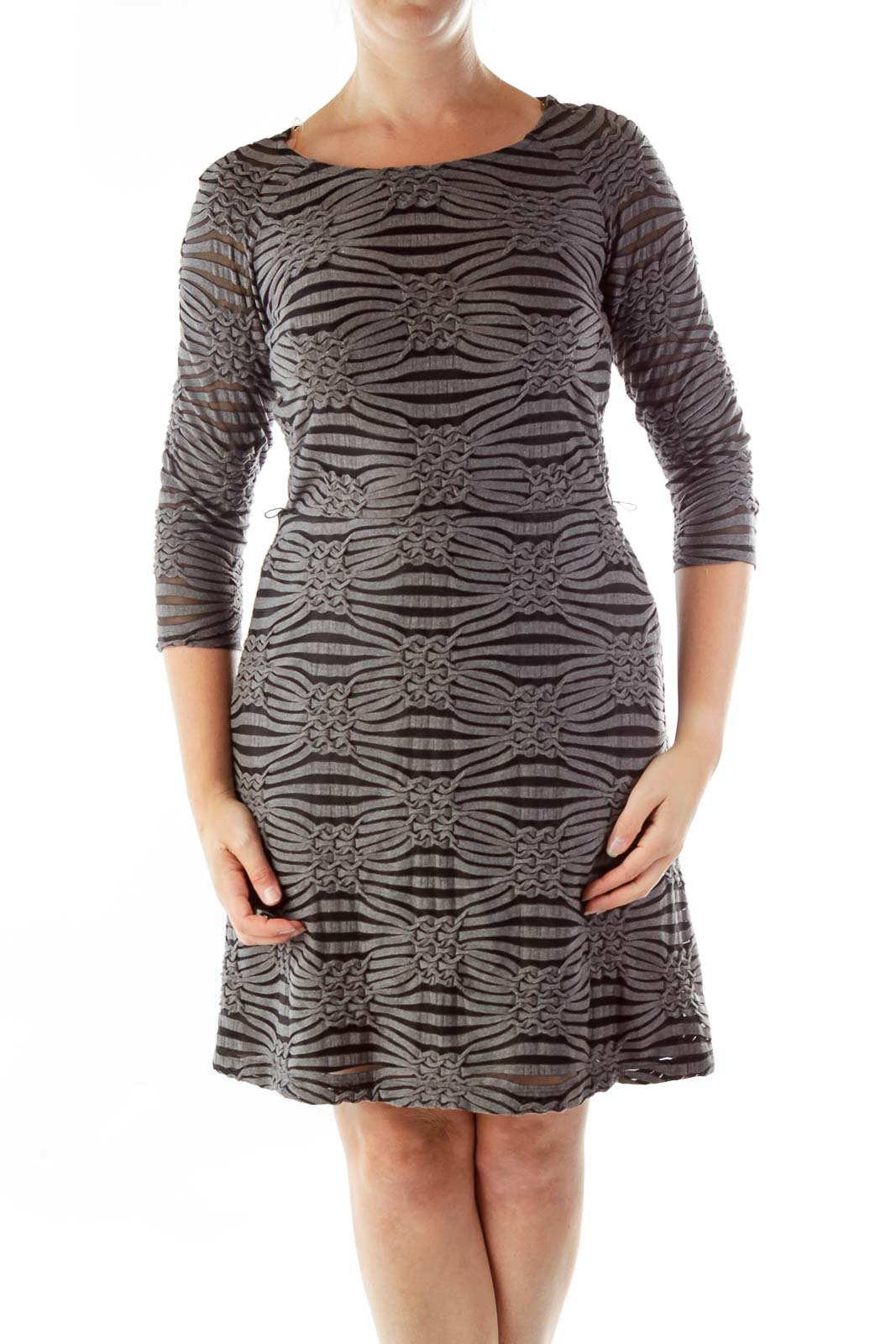 Gray Black Embossed A-Line Dress