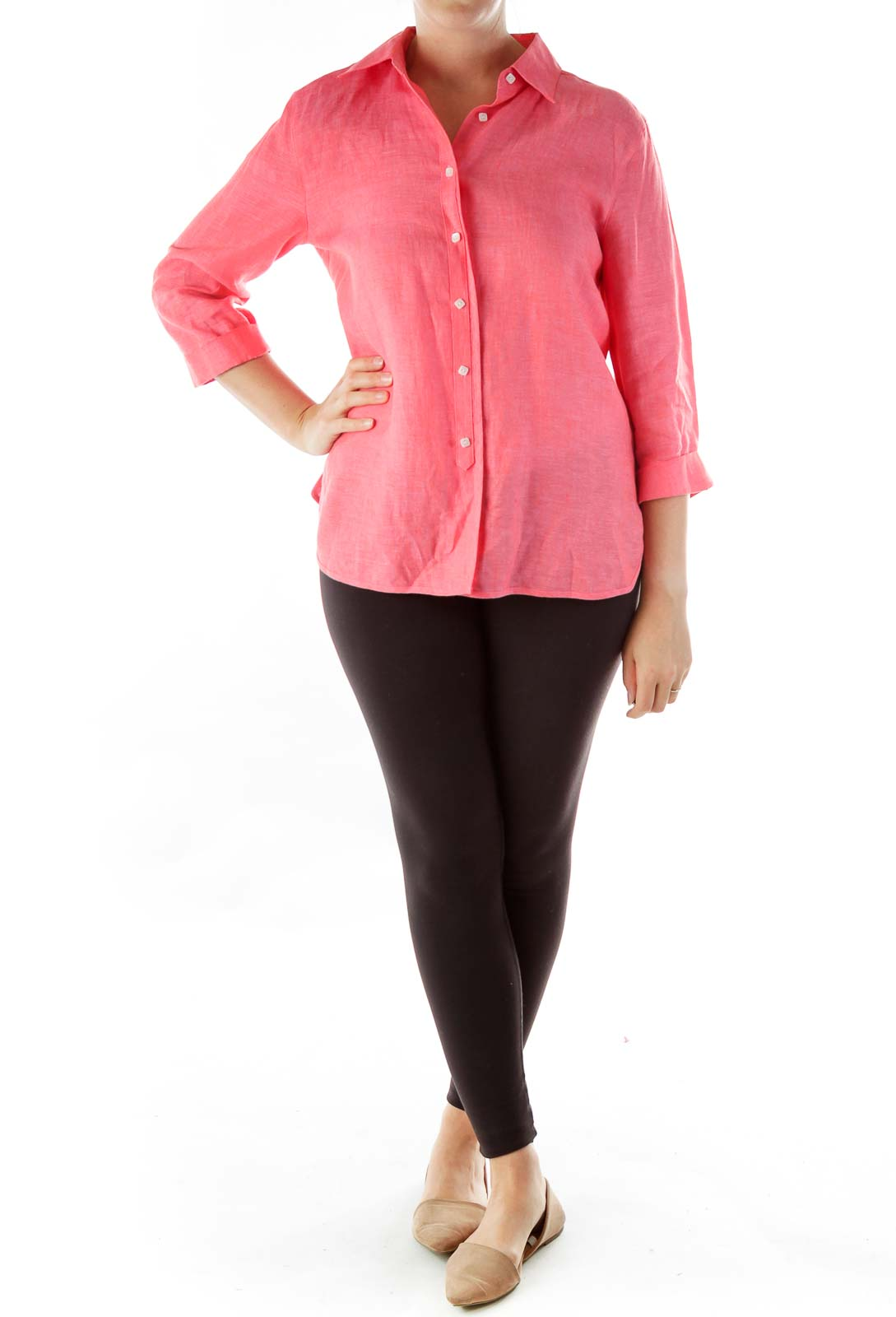 Pink Button-Up Blouse