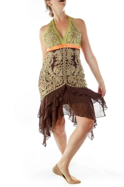 Brown Green Embroidered Dress