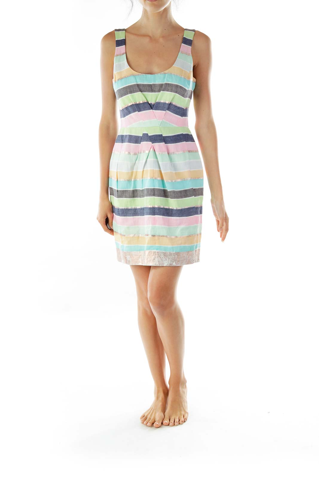Blue Pink Metallic Work Dress