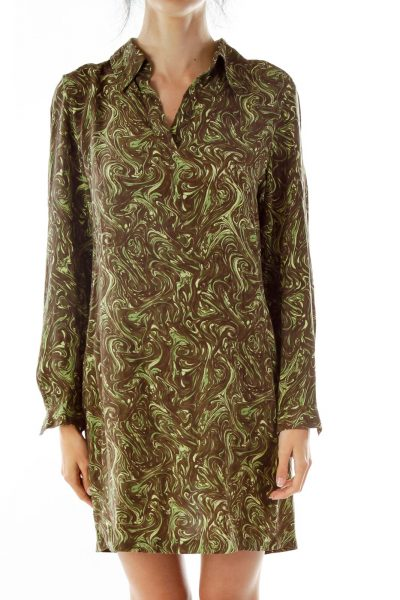 Green Vintage Print Shirt Dress