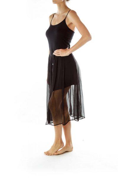 Black Sheet Midi Skirt