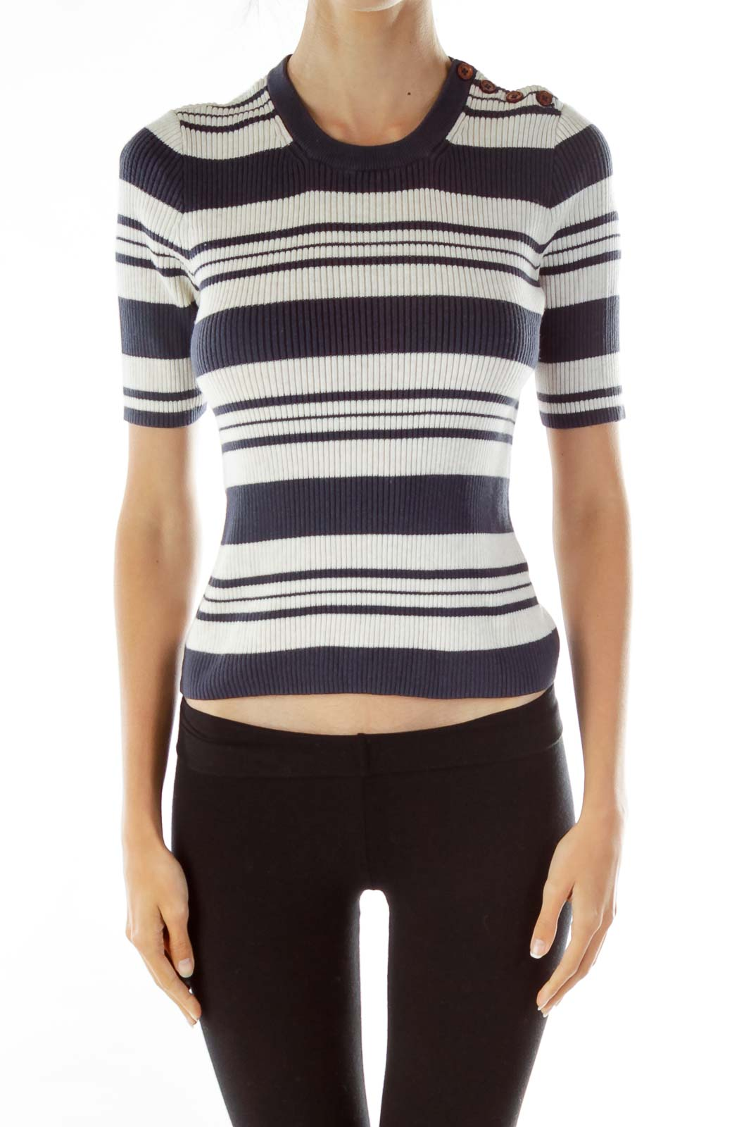 Blue White Striped Knit Sweater