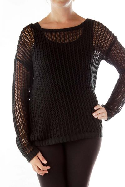 Black Loose Knit Long Sleeve Top