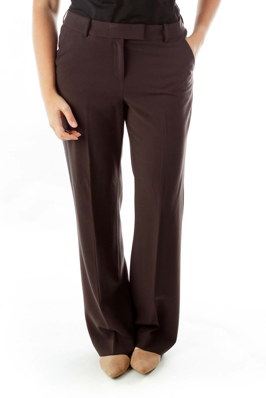 Brown Straight-Leg Slacks