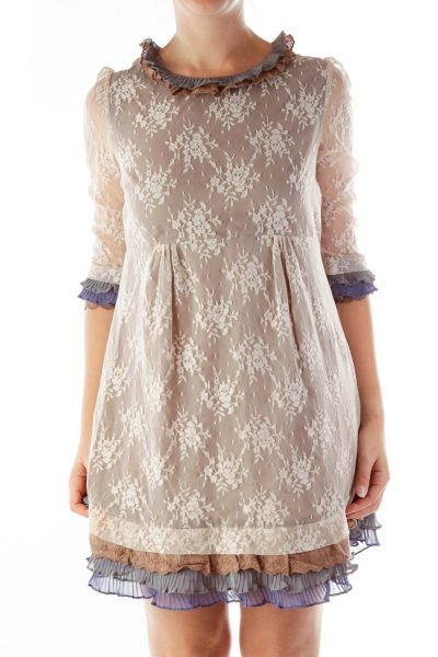 Pink Gray Lace Day Dress