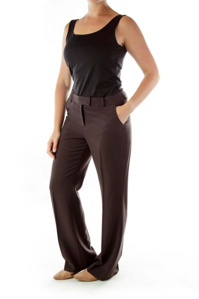 Brown Straight-Leg Slacks