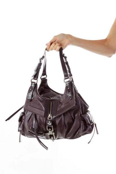 Purple Zippered Shoulder Bag