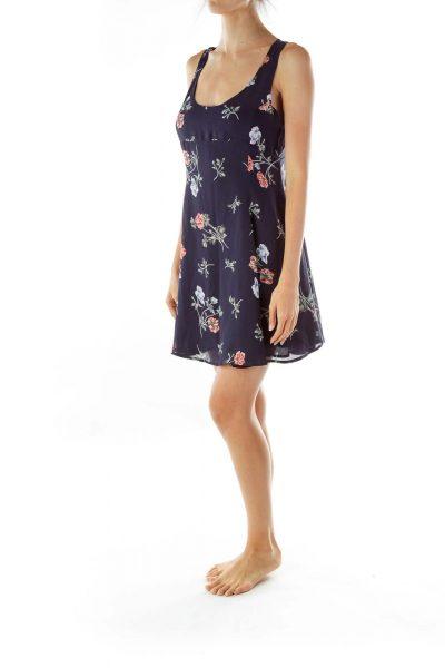 Navy Floral Empire Waist Day Dress