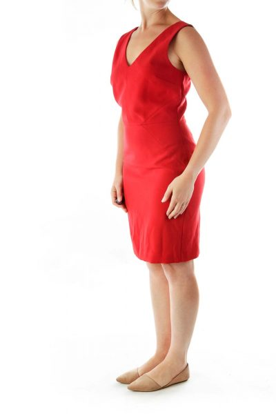 Red VNeck Cocktail Dress
