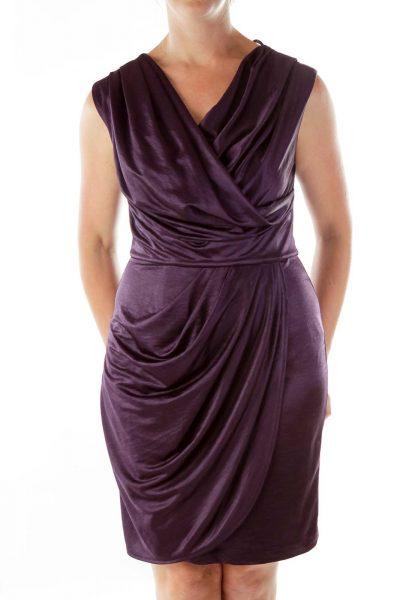 Purple Satin Crepe Dress