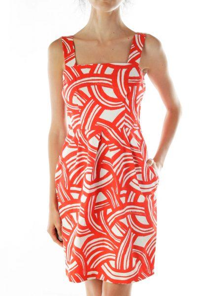 Red Cream Printed Sheath Dress