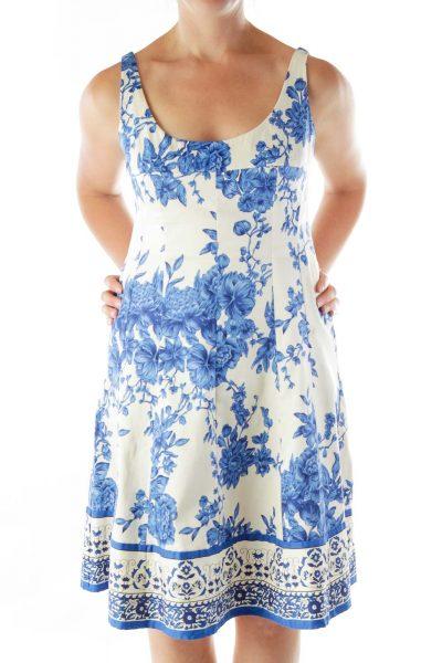 Cream Blue Floral Flared Dress