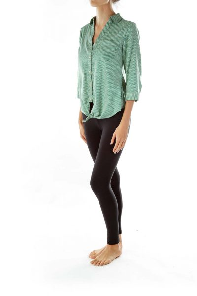 Green Print Pocketed Button-Up Blouse