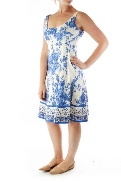 Cream Blue Floral Flared Dress