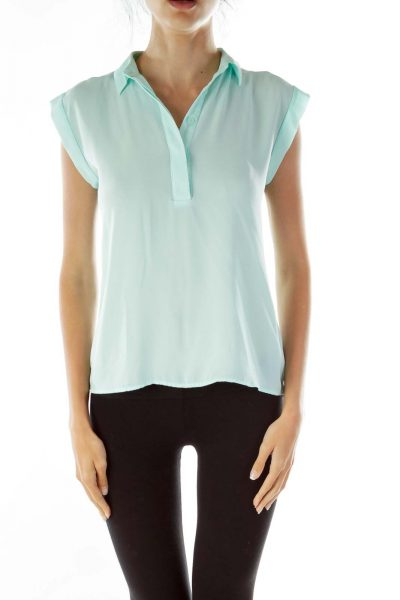 Mint Green Buttoned Collared Blouse