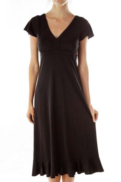 Black V-neck Midi Dress