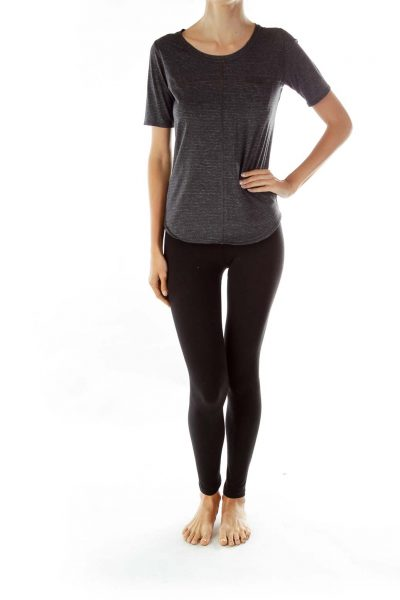 Gray Round Neck Pocketed Yoga Top