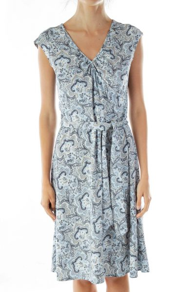 Blue Paisley Midi Dress