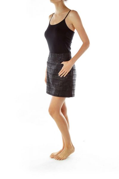 Black Shimmery Mini Pencil Skirt
