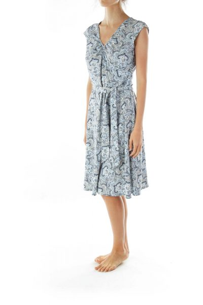 Blue Paisley Midi Dress